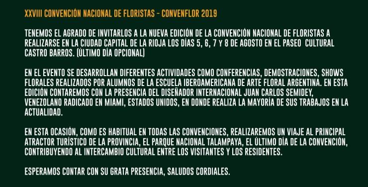XXVIII CONVENFLOR 2019 - La Rioja, Argentina